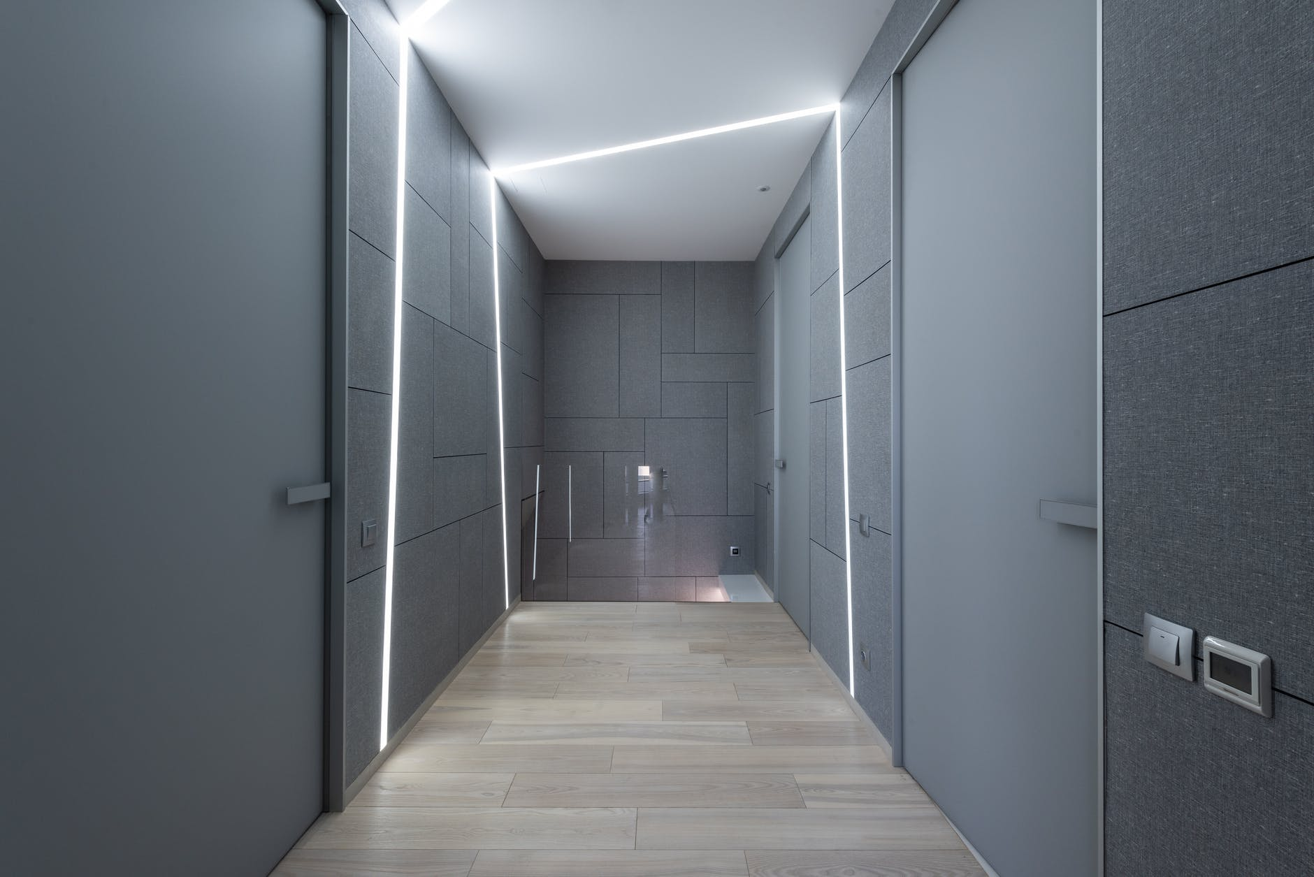 corridor with doors and backlight